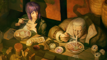 Картинка аниме ghost+in+the+shell batou motoko kusanagi ghost in the shell art major