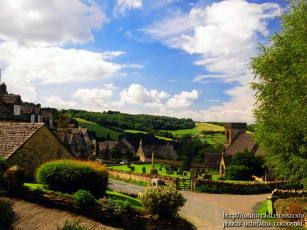 обоя england, snowshill, the, cotswolds, ss, barnabas, church, and, cottages, города, другое