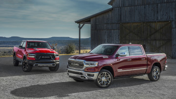 обоя dodge ram 1500 limited and ram 1500 rebel 2019, автомобили, ram, limited, dodge, 2019, rebel, 1500