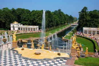 Картинка golden+fountains+-+peterhoff+-st+petersburg+russia города санкт-петербург +петергоф+ россия парковый ансамбль