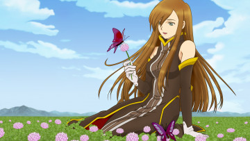 обоя tales of the abyss, аниме, фон, взгляд, девушка