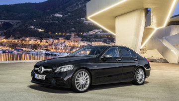 обоя mercedes-benz amg c43 4matic 2019, автомобили, mercedes-benz, чёрный, 2019, 4matic, c43, amg