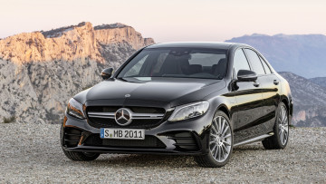 обоя mercedes-benz amg c43 4matic 2019, автомобили, mercedes-benz, 2019, 4matic, чёрный, c43, amg