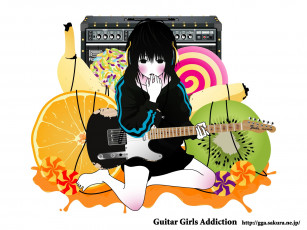 обоя аниме, guitar, girls, addiction