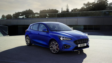 обоя ford focus hatchback st-line 2019, автомобили, ford, blue, st-line, hatchback, focus, 2019