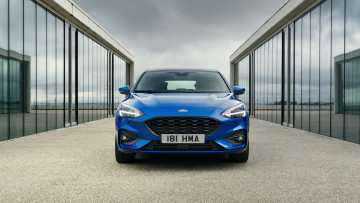обоя ford focus hatchback st-line 2019, автомобили, ford, blue, 2019, st-line, hatchback, focus