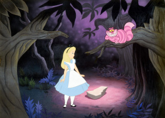 обоя мультфильмы, alice in wonderland, лес, кот, алиса