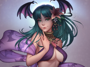 обоя аниме, night warriors,  darkstalkers, morrigan, aensland, dark, stalkers, jonathan, hamilton