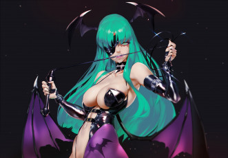 обоя аниме, night warriors,  darkstalkers, morrigan, aensland, демон, dark, stalkers, yang-do