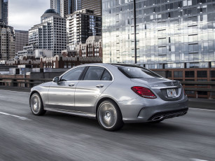 Картинка автомобили mercedes-benz 4matic c 400 us-spec line amg 2015г серый w205