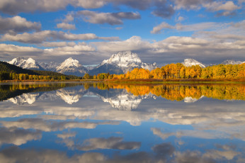 Картинка природа реки озера осень озеро деревья вайоминг grand teton national park облака снег горы сша
