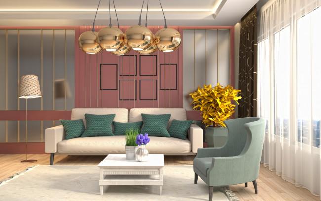 Обои интерьер, гостиная, комната, проект, дизайн, современный, шарики, люстра, ретро, стиль, золотой картинки на рабочий стол, скачать бесплатно.