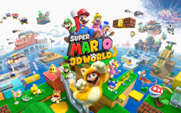 обоя super, mario, 3d, world, видео, игры, марио