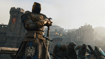 обоя видео игры, for honor, воины, рыцарь, замок