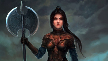 Картинка фэнтези девушки dark girl fantasy weapon warrior ponytail brunette artwork art double ax