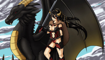 Картинка аниме животные +существа weapon wings armor horn devil dragon warrior fang woman youkai oppai oni blade sword ken demon bishojo brunette