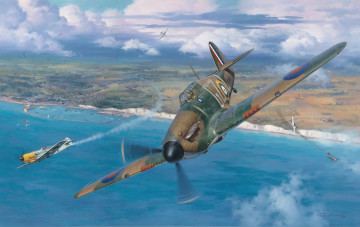 Картинка рисованное авиация messerschmitt bf 109 junkers ju 87 war ww2 aviation painting art hawker hurricane battle of britain