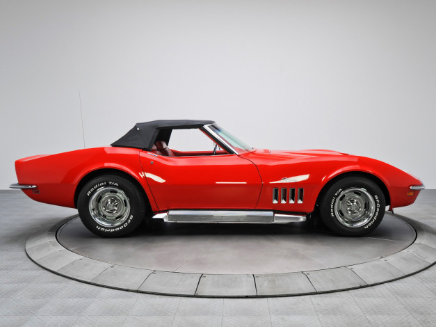 Обои картинки фото corvette stingray l46-350 convertible 1969, автомобили, corvette, l46-350, stingray, 1969, convertible