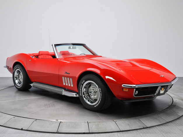 Обои картинки фото corvette stingray l46-350 convertible 1969, автомобили, corvette, convertible, l46-350, 1969, stingray