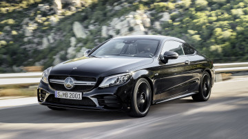 обоя mercedes-benz amg c43 coupe 4matic night package 2019, автомобили, mercedes-benz, c43, coupe, 4matic, night, amg, carbon, package, 2019