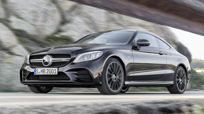 Обои картинки фото mercedes-benz amg c43 coupe 4matic night package 2019, автомобили, mercedes-benz, c43, coupe, 4matic, night, amg, carbon, package, 2019