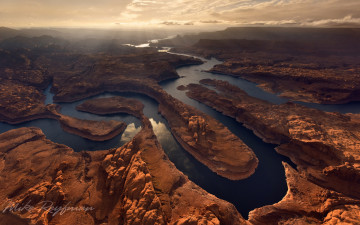 Картинка природа реки озера glen canyon national recreation area sunset on planet earth confluence of san juan colorado rivers