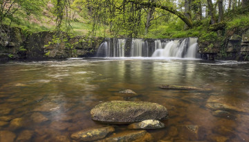 Картинка walker mill foss north york moors england природа водопады англия река камни лес