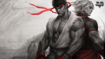 обоя видео игры, street fighter, art, бойцы, street, fighter, ryu, ken