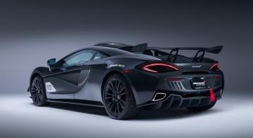 обоя mclaren 570s gt4 mso x no10 ueno grey black accents 2018, автомобили, mclaren, 570s, gt4, mso, x, no10, ueno, grey, black, accents, 2018