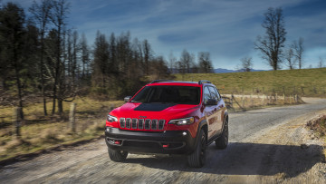 обоя jeep cherokee trailhawk 2019, автомобили, jeep, 2019, trailhawk, cherokee, red