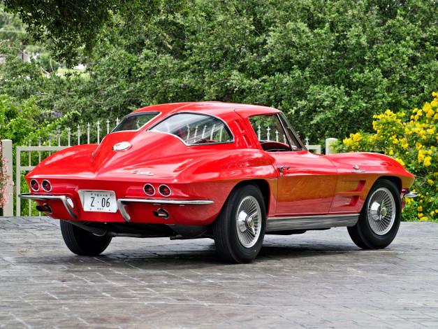 Обои картинки фото corvette sting ray z06 1963, автомобили, corvette, red, 1963, z06, sting, ray