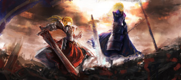 Картинка аниме fate stay+night saber of red stay night меч оружие девушки арт