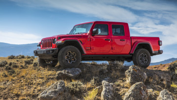 обоя 2020 jeep gladiator rubicon, автомобили, jeep, пикап, красный, rubicon, камни, джип, gladiator, 2020