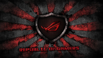Картинка компьютеры asus red brand sunburst republic of gamers logo gamer rog grey background