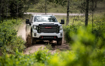 обоя 2020 gmc sierra 1500 at4, автомобили, gm-gmc, 2020, gmc, sierra, 1500, at4, вид, спереди, экстерьер, белый, пикап, американские