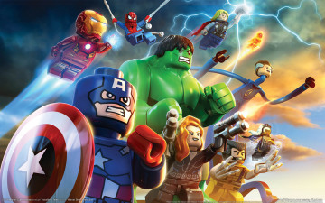 обоя lego marvel super heroes, видео игры, lego, игрушки
