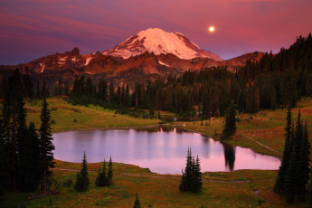Картинка mount rainier national park washington природа реки озера tipsoo lake гора рейнир озеро типсу вулкан