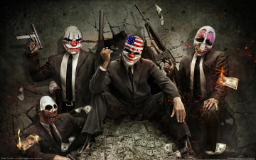 обоя payday, the, heist, видео, игры, оружие, доллары, маски