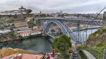 обоя porto portugal luis i bridge, города, порту , португалия, простор